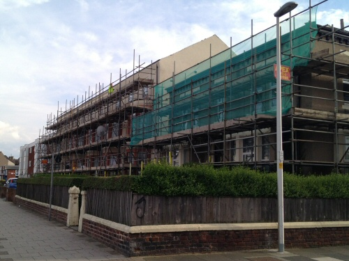 Apex scaffolding erected to flats on Lytham Road in South Shore, Blackpool